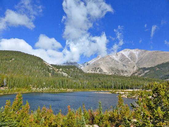 Sandbeach Lake (10,283') framed by Mt Meeker (13,911')